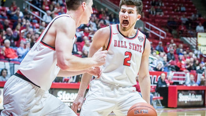 Ball State's Tayler Persons celebrates a point against Indiana State during their game at Worthen Arena Tuesday, Nov. 15, 2016.