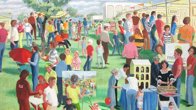 "Polly Cox's ""Spring Fling"" (acrylic on canvas, 1976) captures the feel of the bustling arts festival. It is one of the images included in the exhibit ""Spring Fling Remembered"" at the Wichita Falls Museum of Art at MSU. The exhibit opens April 22 at the museum, which also will be the site of the Spring Fever festival. The festival includes children's activities, live performances, food trucks and more. Both events are part of the museum's 50th anniversary celebration."