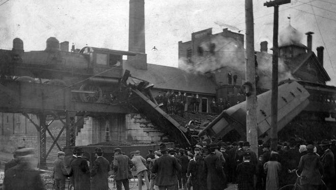 """On April 5, 1906, a broken rail on the train trestle over East Main - between First and Second streets - caused a train crash where today an electric sign broadcasts """"RICHMOND"""" on either side. The 1893 train crash in today's story occurred north of there at the Whitewater Bridge."""