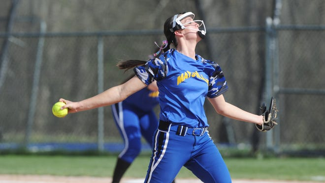 Maysville's Madison Riggle fires a pitch against Sheridan on Monday night. Maysville shut out Sheridan 1-0 to take a three-game lead in the Muskingum Valley League.