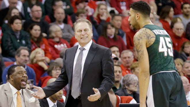 Head Coach Tom Izzo of the Michigan State Spartans looks to the referee during the first half half against Wisconsin Badgers at Kohl Center on January 17, 2016 in Madison, Wisconsin.