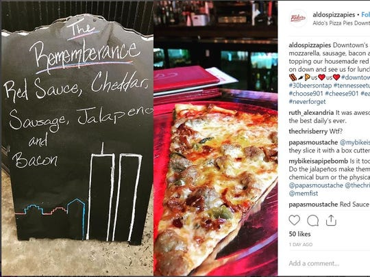 "As the country mourned the 17th anniversary of the 9/11 terrorist attacks, the Downtown Memphis location of Aldo's Pizza Pies raised eyebrows with its daily slice, called ""The Remembrance,"" and showing the World Trade Towers."