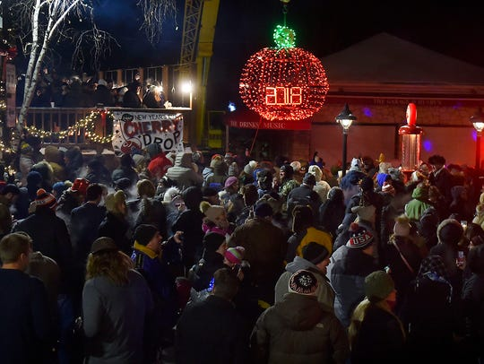 About 300 New Year's Eve revelers ushered in 2018 with Sister Bay's first cherry drop.