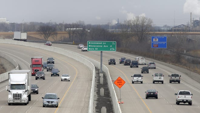 Trafffic moves along Interstate 41 in Neenah. The stretch of interstate between Washington County line to State 441 in Winnebago County is among segments that will see the speed limit raised to 70 mph.