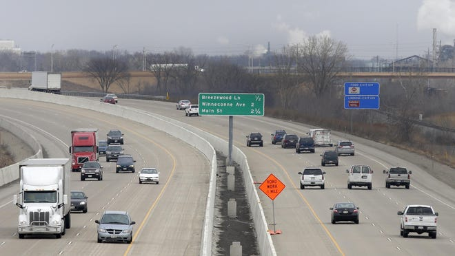 Traffic moves along Interstate 41 in Neenah in early April.