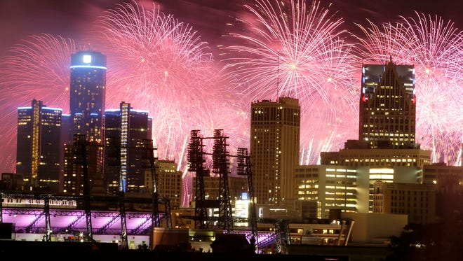 Fireworks burst over the Detroit city skyline during the  annual Ford Fireworks show in downtown, Monday, June 23, 2014.