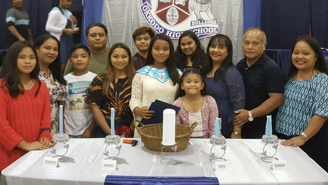 Congratulations to Precia Tiani Blas Santos, who was inducted into Okkodo High School's Pacific Chapter of the National Honor Society on February 23.  She is the daughter of Vanessa Blas and Lance Santos and the granddaughter of Norbert and Tina Santos.