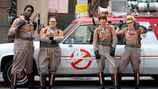 "FILE - In this image released by Sony Pictures, from left, Leslie Jones, Melissa McCarthy, Kristen Wiig and Kate McKinnon from the film, ""Ghostbusters."" Hollywood has turned its eye to gender swaps as the latest ploy to refresh dusty intellectual property. Now it's clear ""Ghostbusters"" was just the beginning. There's that female-led installment of the ""Ocean's Eleven"" series on the way, ""Ocean's Eight"" starring Sandra Bullock, Anne Hathaway, Cate Blanchett and Rihanna, a ""Splash"" remake with Channing Tatum as the mermaid, a ""Dirty Rotten Scoundrels"" with Rebel Wilson, and even a ""Rocketeer"" reboot with a female lead in various stages of development."