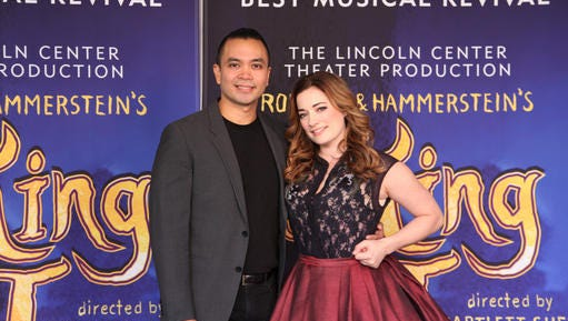 """This Oct. 18, 2016 photo, Jose Llana, left, and Laura Michelle Kelly appear in New York. Llana will star as the king of Siam, and Laura Michelle Kelly as Anna in the national tour of the Rodgers and Hammerstein classic """"The King and I."""""""