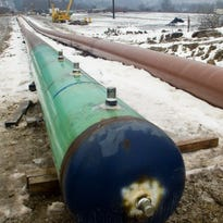 The Constitution Pipeline, pictured in January 2015, would bring natural gas from the fracked fields in Susquehanna County, Pennsylvania to eastern and southern parts of New York. The pipeline has been denied approval from New York regulators but the company building it pledge to fight the ruling.