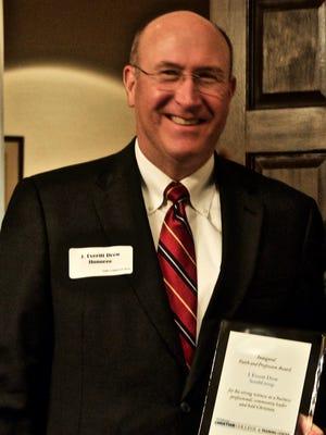 J. Everitt Drew with the inaugural Faith and Profession Award