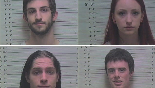 Clockwise from upper left is John Sanderson, 19; Madison Shaye Davidson, 19; Dylan Vandyke, 22; and Kyle Carter, 23.
