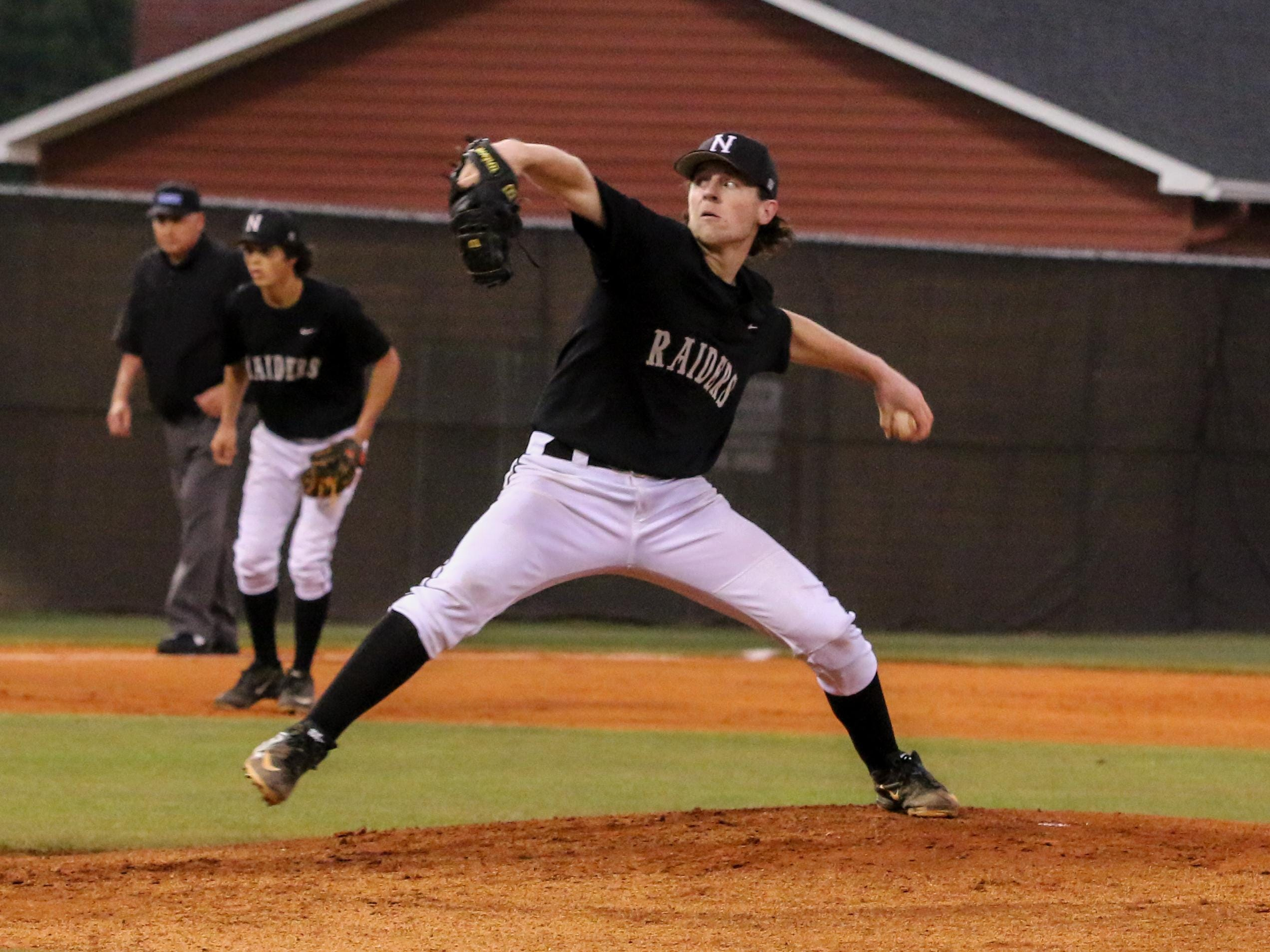 Navarre's Matt Cronin pitches against Tate Wednesday night during the Region 7A quarterfinal game at Tate High School.