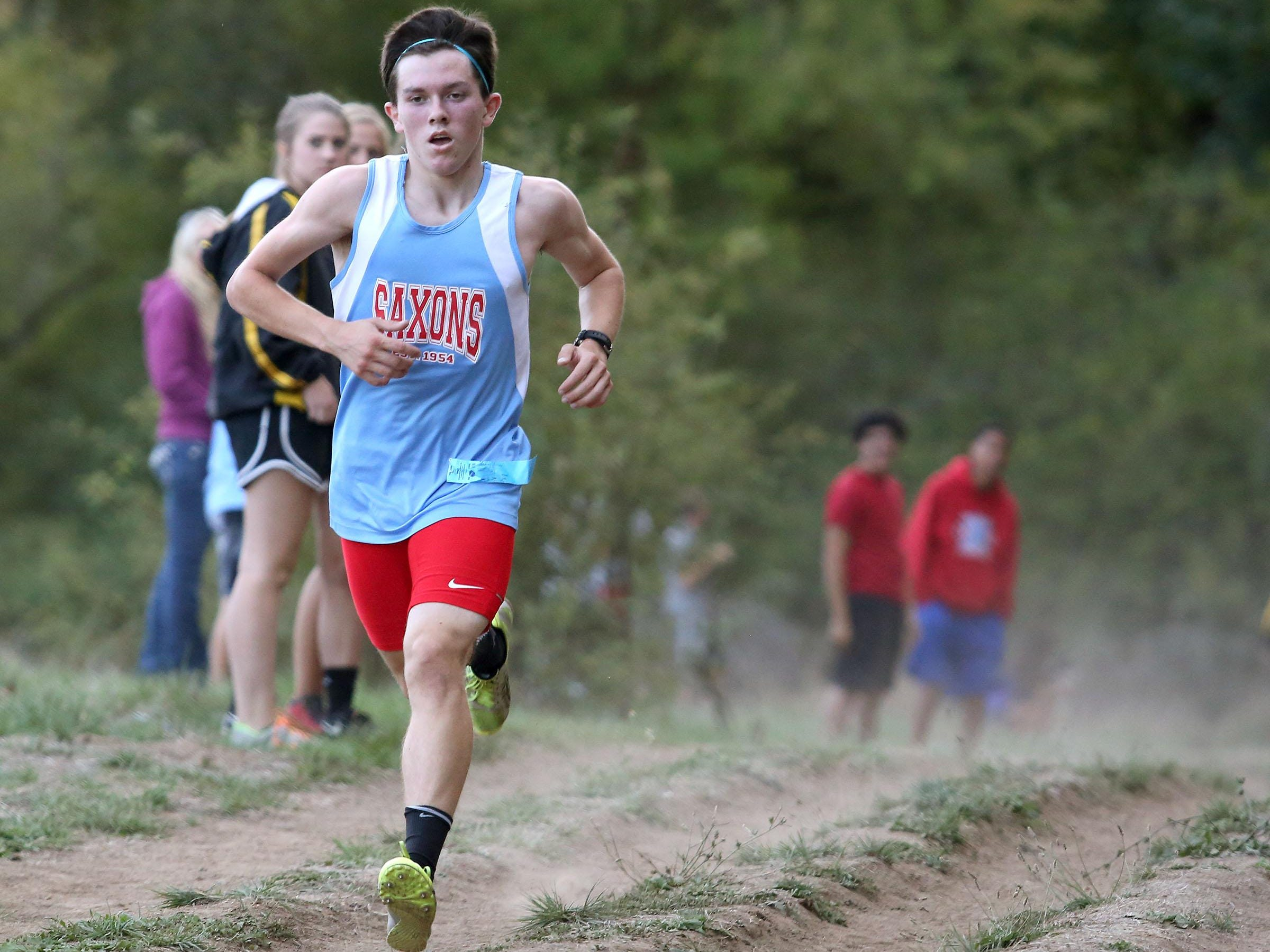 South Salem High School's Thomas Burney won the boys race at the Stayton XC Invitational at Willamette Mission State Park on Wednesday, Sept. 23, 2015, Salem, Ore.