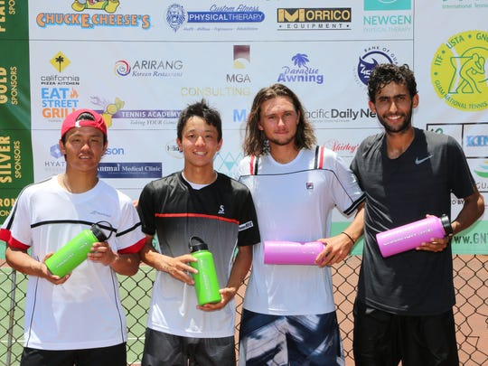 The doubles finalists of the of the 2017 King's Guam Futures tennis tournament, an ITF Pro Circuit event presented by Docomo Pacific and Hilton Guam Resort & Spa pose for a group photo after the championship match at the Hilton tennis courts Saturday. From left to right are doubles finalists Masaki Sasai and Shunrou Takeshima, both from Japan, and doubles champions, Connor Farren of the United States and Bernardo Saraiva of Portugal. No. 3 Farren/Saraiva won 7-6(1), 7-6(4).