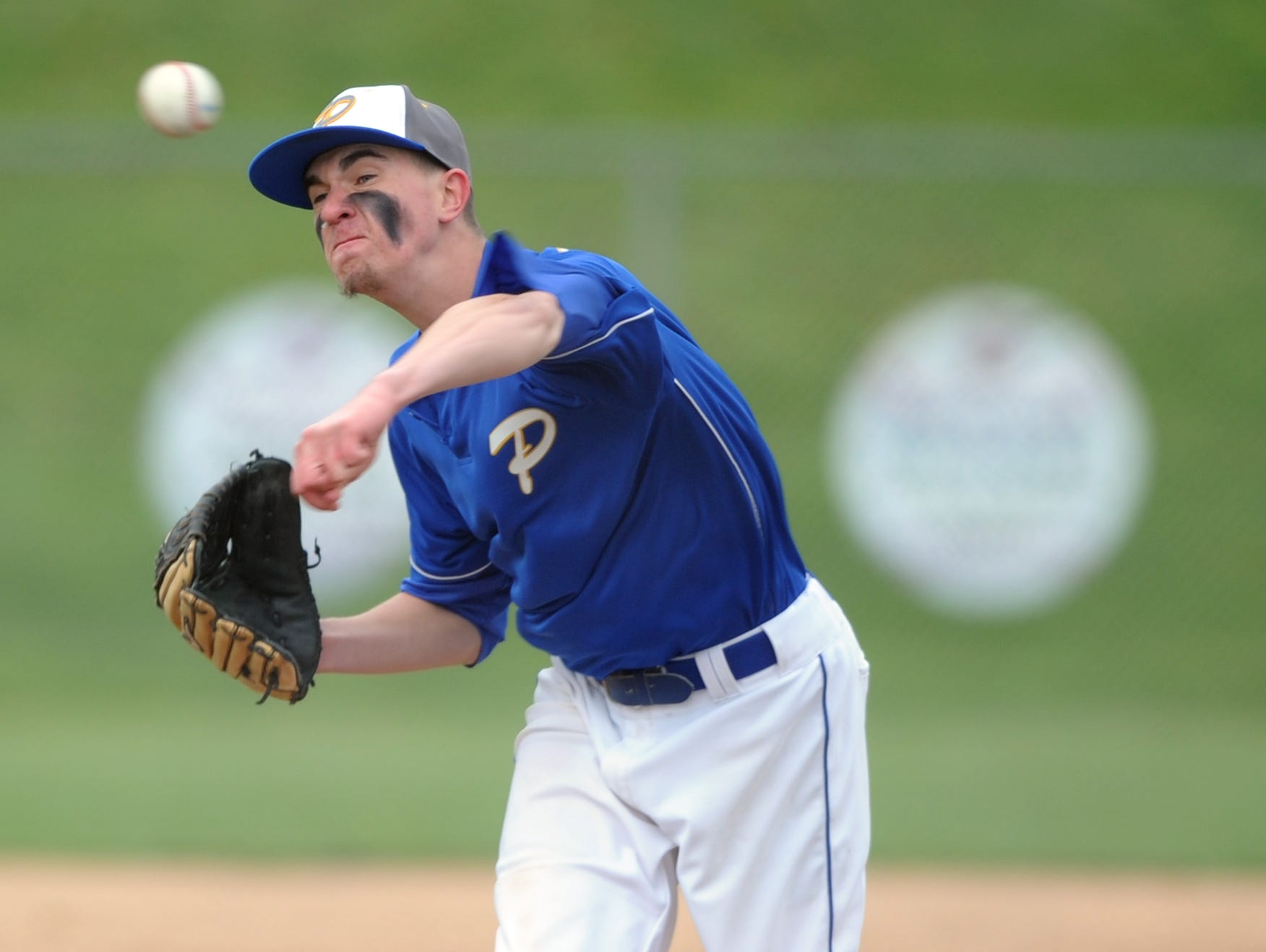 Philo's Dakota Peyton delivers a pitch in the first inning of a 1-0 win over West Muskingum on Thursday at West Muskingum High School in Zanesville. Peyton struck out nine batters while allowing three hits in the complete-game shutout.