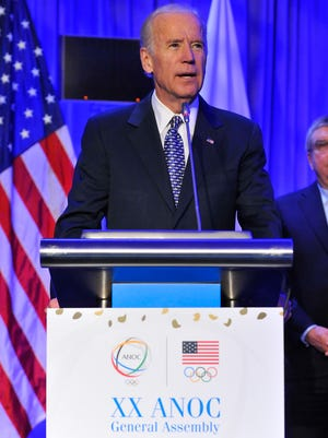 U.S. Vice President Joe Biden speaks on the final day of the ANOC General Assembly.