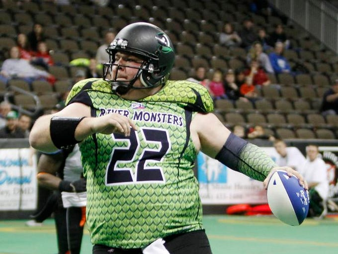 2/9/14 2:02:29 PM -- Highland Heights, KY, U.S.A; Jared Lorenzen (22) quarterback for the Northern Kentucky River Monsters passes during the first quarter. Mandatory Credit: Frank Victores -USA TODAY Sports, Gannett