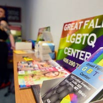 From left to right: Jerry Perchert, Jules Shindel, Eric Butler, Amma Jones, Susan Otey and Amy Allison-Thompson stand at the new Great Falls LGBTQ Center. The new center is located at 600 Central Ave., Suite 323.