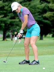 Corning's Emily Cunningham putts during a practice round at Willowcreek Golf Club last week.