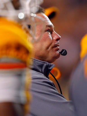 Tennessee coach Butch Jones looks to the Jumbtron during the second half against Arkansas last Saturday in Knoxville.