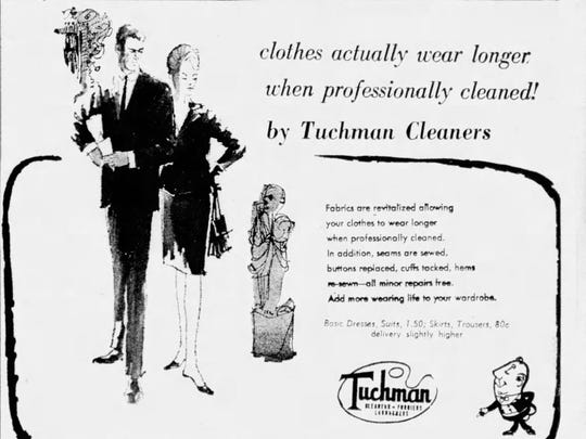 A Tuchman Cleaners advertisement from Sept. 1964.