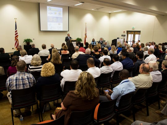 Tony Hernandez, USDA administrator for the Rural Housing Service, speaks to a packed crowd during the SWFL Promise Zone Kickoff meeting at Immokalee Technical College on Thursday, Sept. 22, 2016. The 10-year program, which aims to help high-poverty areas across the country, will provide each designated zone with preferred access to certain federal grants, the support of a federal employee who will work full-time to help communities implement goals and get access to federal programs, help from another employee who will advocate for the communities before federal agencies, and the help of up to five full-time AmeriCorps Vista members.