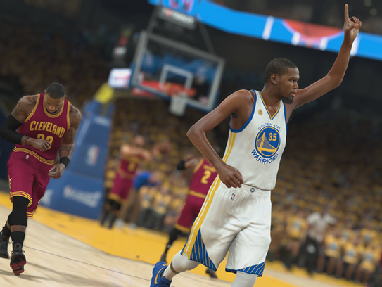 Kevin Durant gestures during an NBA 2K17 simulation.