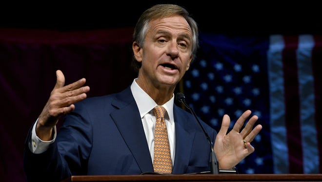 Gov. Bill Haslam led a discussion on the IMPROVE Act at Station Camp High School in Gallatin on Wednesday.