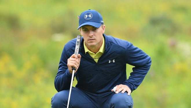 Jordan Spieth lines up his putt on the 3rd hole during the third round of the Dell Technologies Championship golf tournament at TPC of Boston on Sept. 3.