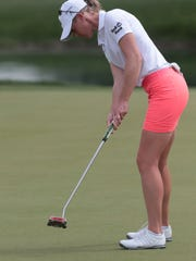 Amy Olson putts on 5 during the 3rd round of the ANA