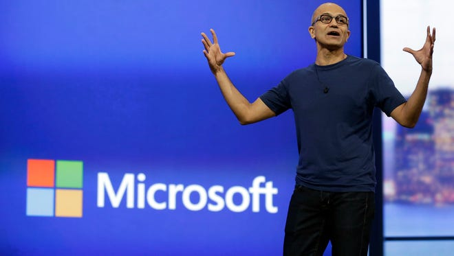 Microsoft CEO Satya Nadella speaks at an event in April.