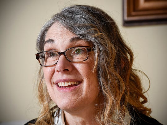 April Myers talks Wednesday, April 20, at her home in Sauk Rapids. She is being honored as the Sauk Rapids Citizen of the Year for her work on various projects.