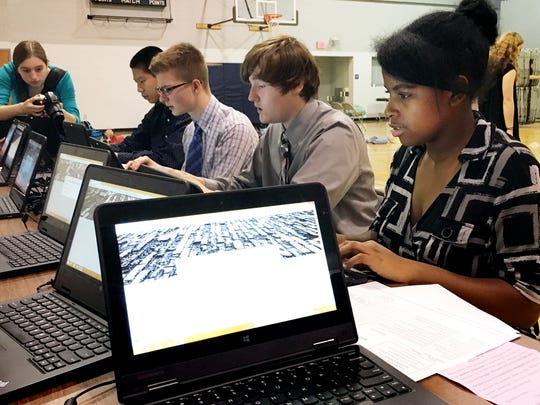Dallastown Area High School sophomores sit at computers