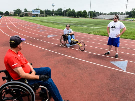 Dennis Haines, Chris Fidler and Carl Fidler talk about competing in the Veterans Wheelchair Games as they prepare for the upcoming 37th annual games in Cincinnati, OH on Thursday, July 13, 2017.