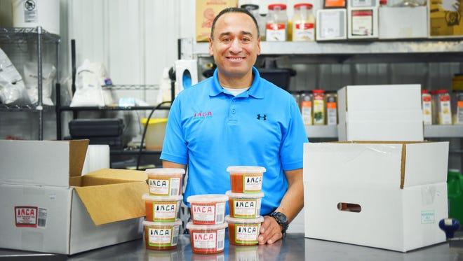 Owner of Inca Mexican Restaurant Julio Espino Wednesday, Nov. 22, at the Inca salsa warehouse in Tea.