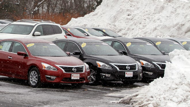 Feb. 12 photo of two-year-old certified pre-owned cars at a Nissan dealership in Marlborough, Mass.