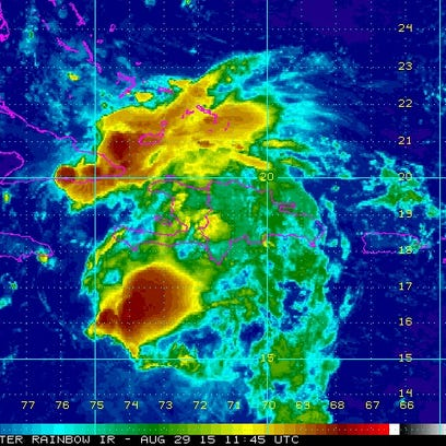 Satellite image of Tropical Storm Erika. The National