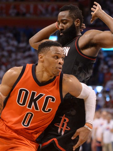 Oklahoma City Thunder guard Russell Westbrook drives