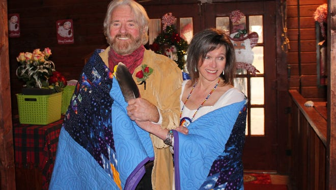 Mr. and Mrs. Michael Martin Murphey, shortly after their wedding ceremony Dec. 16 at Pioneer Hall in Anson.