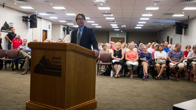 Attorney John Barth, representing the No Pipe Dream Association speaks to the commissioners and a large audience in opposition of the proposed Thornton Pipeline on Monday, July 9, 2018, at a Larimer County Commissioners' hearing in Fort Collins, Colo.