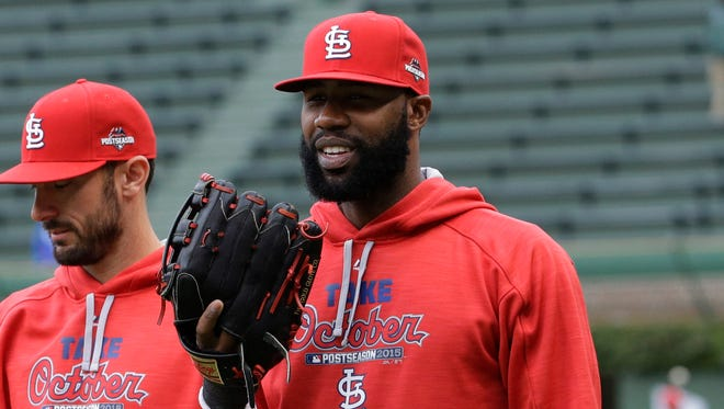 St. Louis Cardinals outfielder Jason Heyward, practices for Game 4 of the National League Division Series against the Chicago Cubs on Oct. 13, 2015, in Chicago.