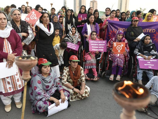 Pakistani physically challenged women rally during
