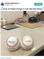 Dodgers pitcher Brandon McCarthy tweeted a picture Wednesday of two baseballs: one from this season and the other from the 2013 World Baseball Classic.