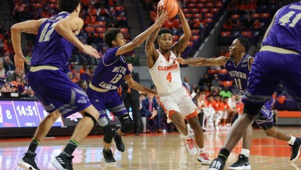 Clemson Tigers Shelton Mitchell (4) drives to he basket against Western Carolina at Littlejohn Coliseum Friday November 10, 2017.