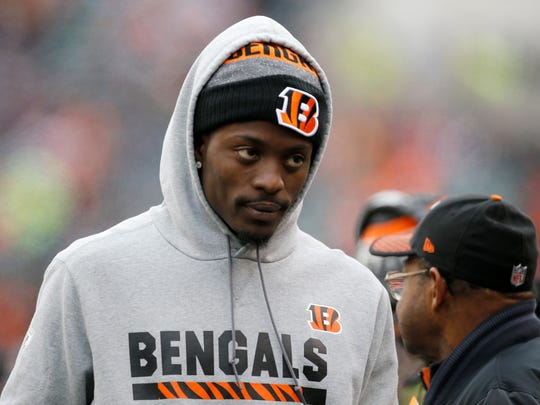 Injured Cincinnati Bengals cornerback Dre Kirkpatrick (27) walks the sideline in the first quarter of the NFL Week 14 game between the Cincinnati Bengals and the Chicago Bears at Paul Brown Stadium in downtown Cincinnati on Sunday, Dec. 10, 2017. At halftime the Bears led 12-7.