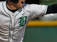 Badin center fielder Cole Heflin makes a running catch.