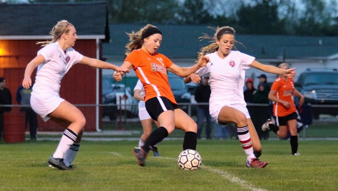 Kayla Foran (center) has Brighton's only goals in two 1-0 victories so far this season.