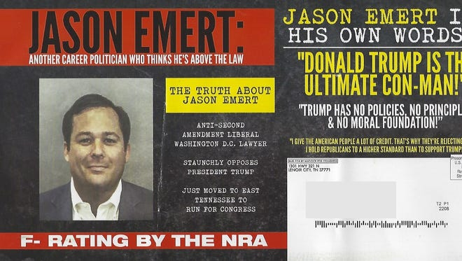 The ad against Second Congressional candidates Jason Emert and Tim Burchett sent out by the Jimmy Matlock campaign.