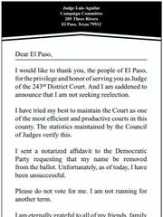 District Judge Luis Aguilar placed this ad in the Sunday El Paso Times in which he tells voters he's not seeking re-election.